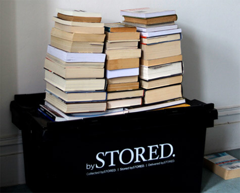Books on a storage box.