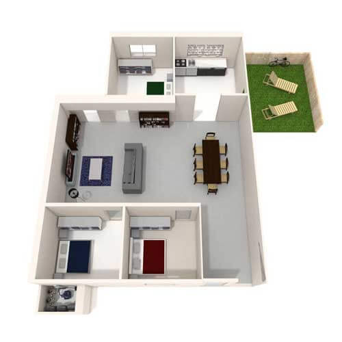 Two bedroom flat with garden image
